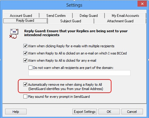 Reply Guard settings